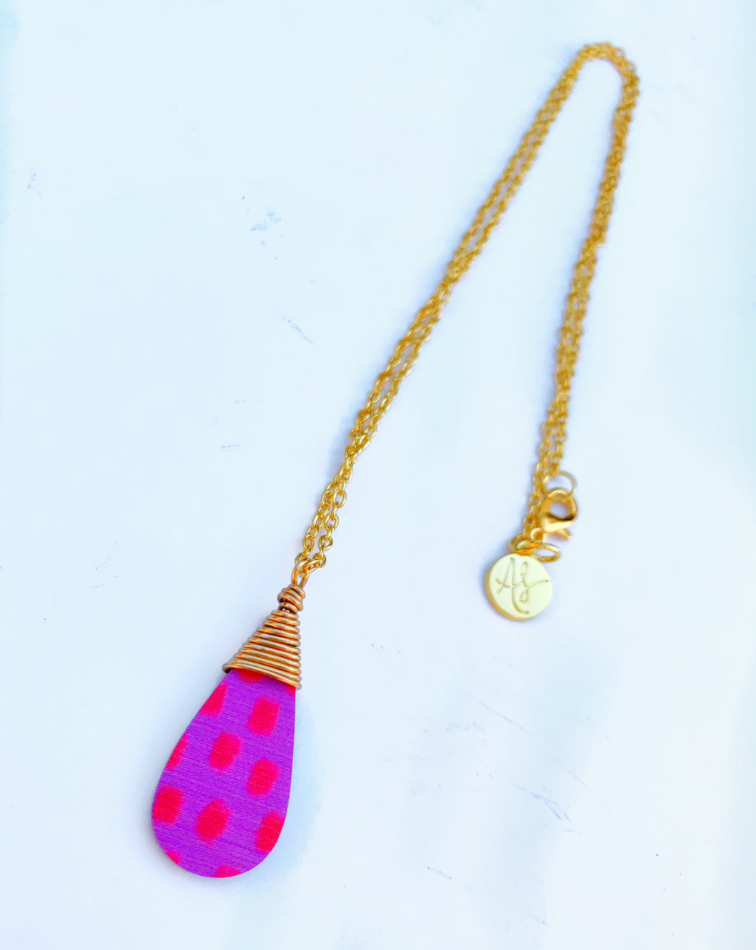 Audra Style™️ Pink Red Dot Wire Wrap Drop Pendant Chain Necklace