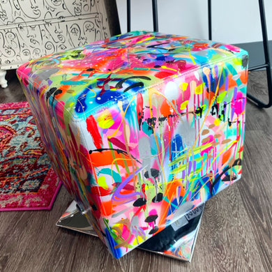 Abstract Painted Spinning Ottoman Stool