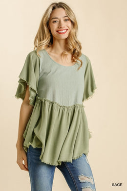 Frayed Hem Short Sleeve Top- Sage