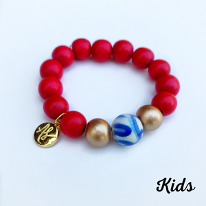 Kids - Audra Style™ Stacking Bracelet Red Blue White