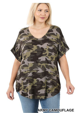Plus Size Army V-Neck Tee