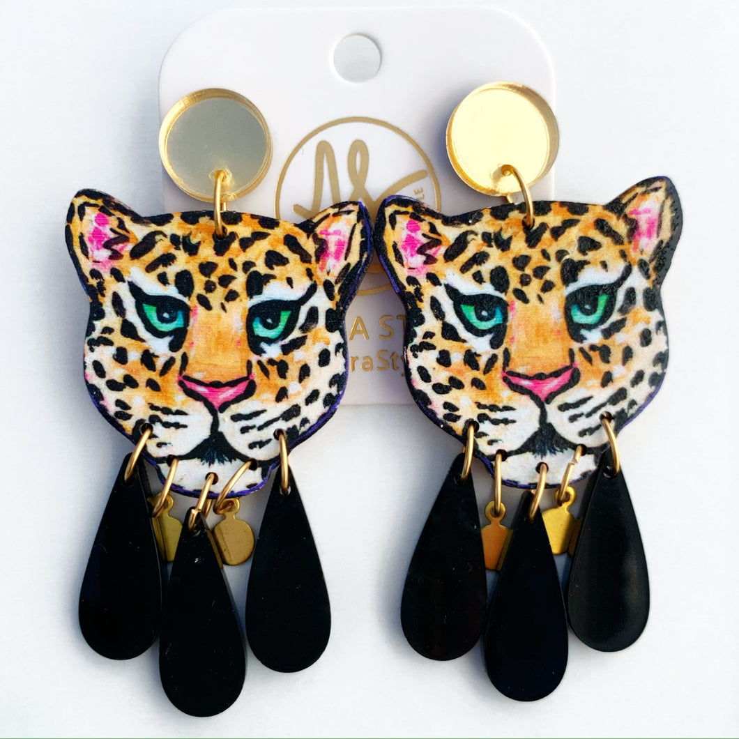 Leopard - Black Dangles