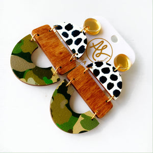 Bela - Gold Mirror Black Dot Wood Camo