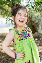 Load image into Gallery viewer, Kids Lime Jardinita Dress