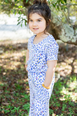 Kids Leopard Jumpsuit: Denim and Coral