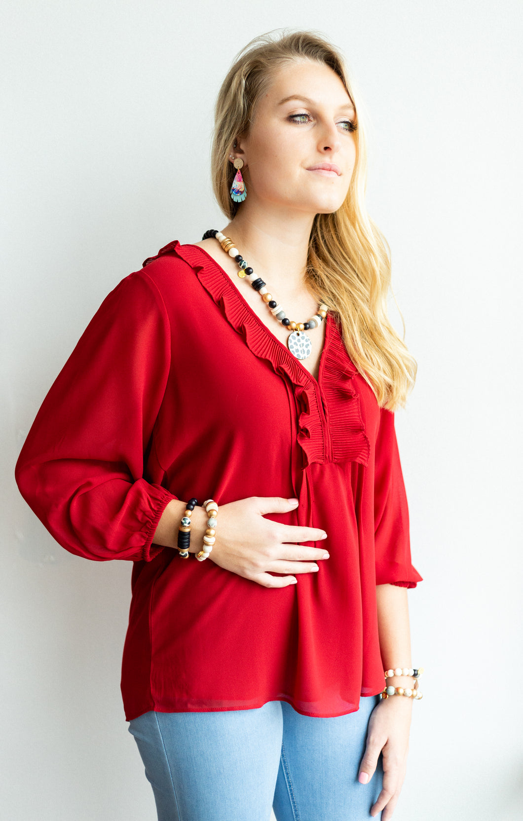 Ruby Pleated Ruffle Pintuck Blouse 3/4 Sleeves
