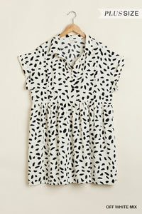 Plus Size Dalmatian Short Sleeve Babydoll Dress- Off White