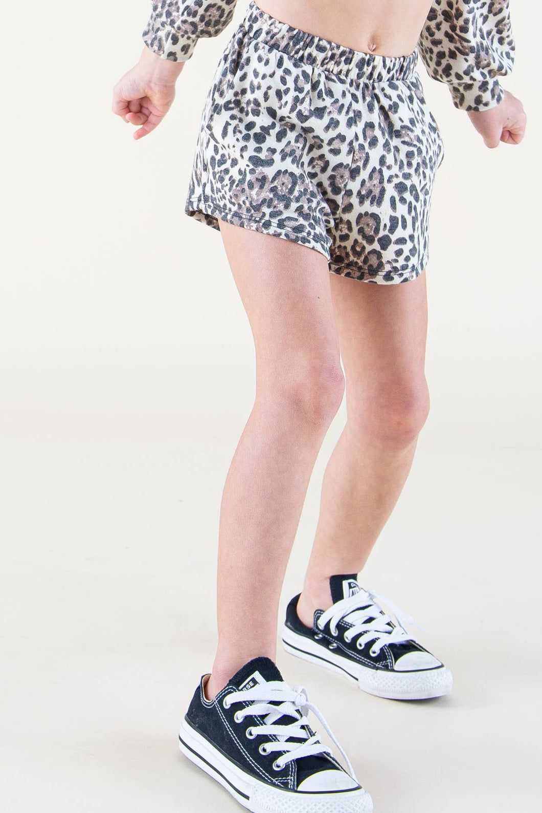Kids Leopard French Terry Shorts