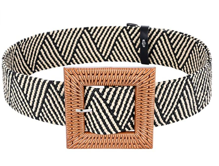 Wide Woven and Straw Waist Belt- Square Black