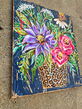 "Load image into Gallery viewer, ""The Show Must Go On"" Original Leopard Bouquet on Canvas 24""x36"