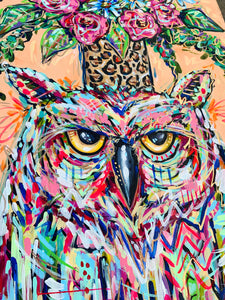 "'Big Mood' Original Owl and Bouquet on Canvas 24""x36"
