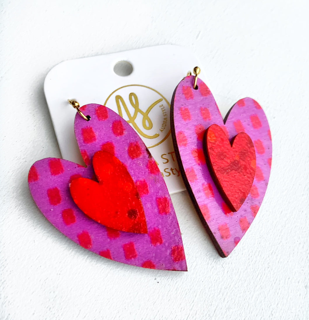 Cherish Heart - Pink Red Dot