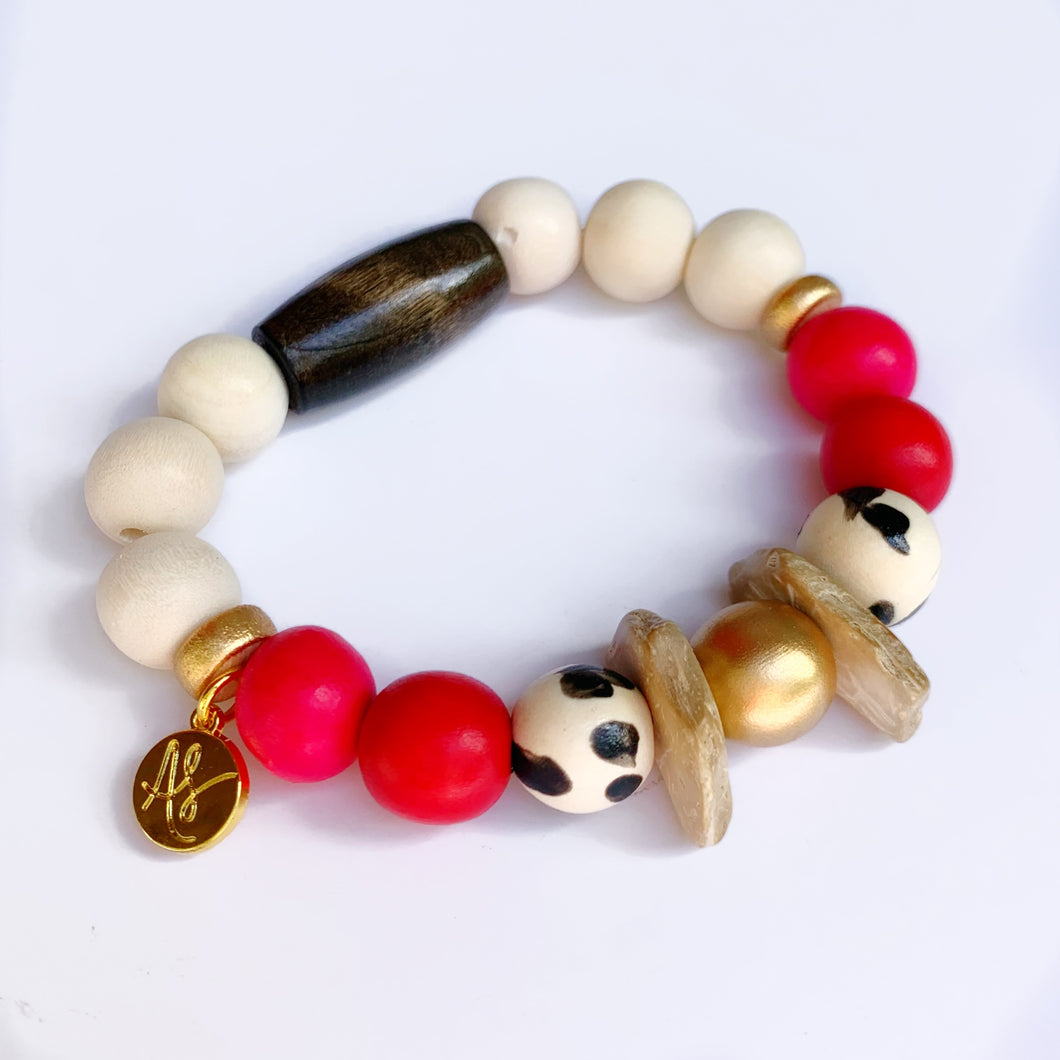Red Black White  Beaded Bracelet