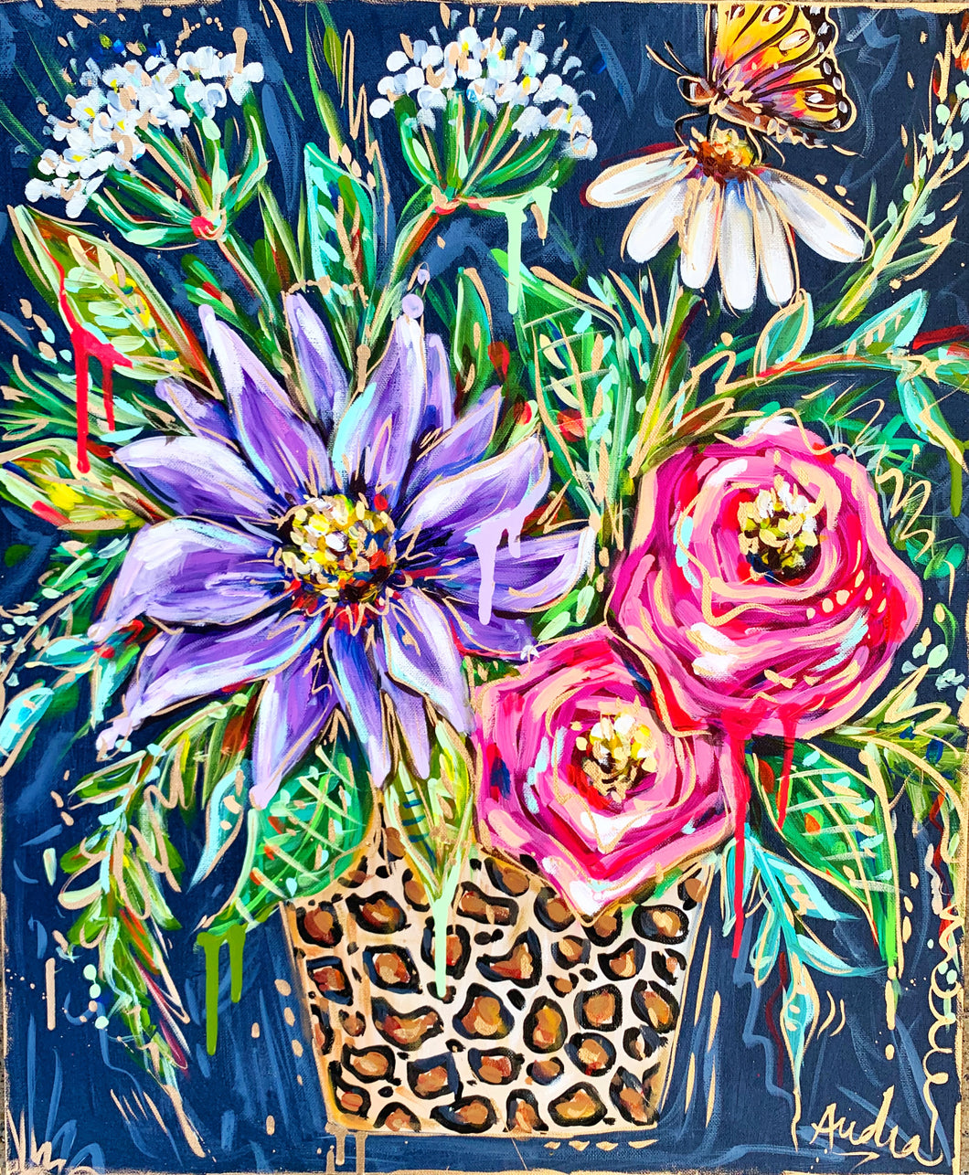 """The Show Must Go On"" Original Leopard Bouquet on Canvas 24""x36"