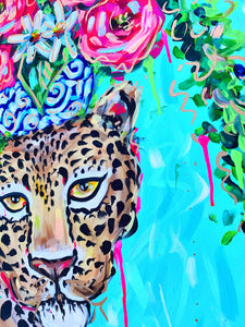 """Go Quickly"" - Cheetah and Bouquet on Canvas 24x36"