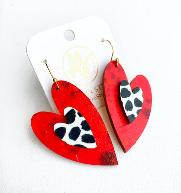 Cherish Heart - Red Black Dot