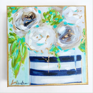 "White Floral in Black Stripe Vase on 6""x6"" Gallery Wrapped Canvas"