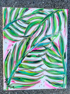 """Pink Palm 3"" Palm Branches on Canvas 8x10"""
