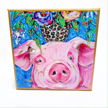 "Load image into Gallery viewer, Pig on 6""x6"" Gallery Wrapped Canvas"
