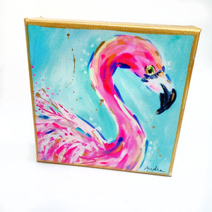 "Flamingo on 6""x6"" Gallery Wrapped Canvas"
