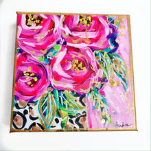 "Load image into Gallery viewer, Roses in Leopard Vase Pink Background on 6""x6"" Gallery Wrapped Canvas"
