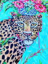 "Load image into Gallery viewer, ""Go Quickly"" - Cheetah and Bouquet on Canvas 24x36"