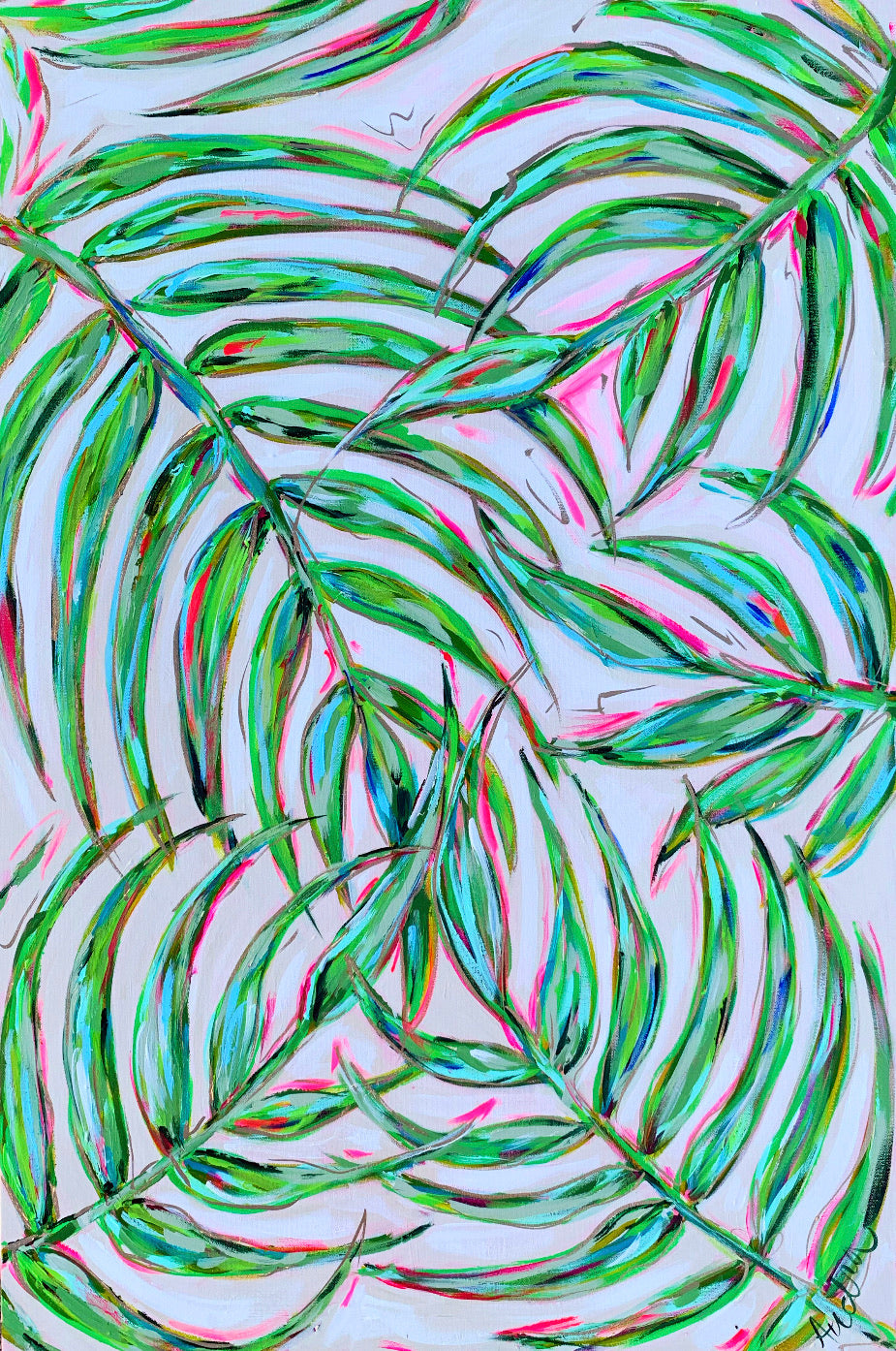 """Pink Palm"" Palm Branches on Canvas 24x36"""
