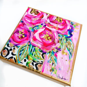 "Roses in Leopard Vase Pink Background on 6""x6"" Gallery Wrapped Canvas"