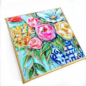 "Floral in Ginger Jar on 6""x6"" Gallery Wrapped Canvas"