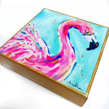 "Load image into Gallery viewer, Flamingo on 6""x6"" Gallery Wrapped Canvas"