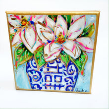 "Load image into Gallery viewer, Magnolia in Ginger Jar on 6""x6"" Gallery Wrapped Canvas"