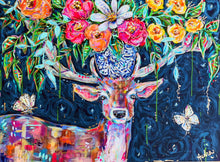 Load image into Gallery viewer, Vincent - Deer, Butterflies and Bouquet Original Painting on Canvas