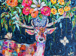 Vincent - Deer, Butterflies and Bouquet Original Painting on Canvas