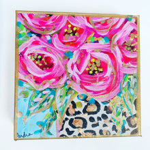"Load image into Gallery viewer, Roses Leopard Vase Blue Background on 6""x6"" Gallery Wrapped Canvas"