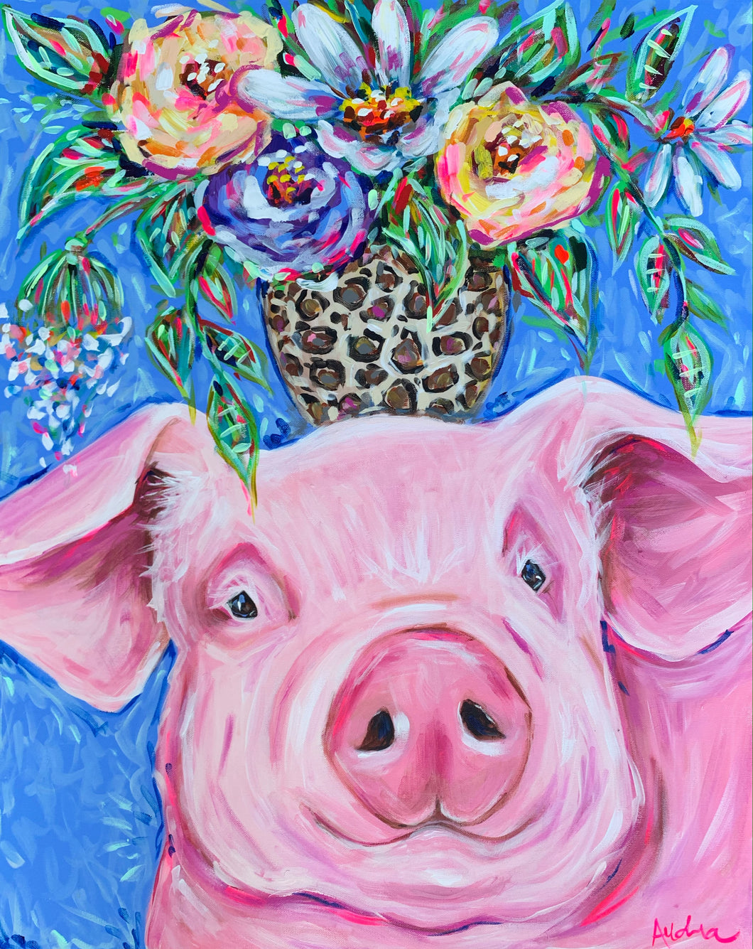 """Peace of Mind"" Pig with Bouquet on Canvas 24x30"