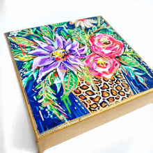 "Load image into Gallery viewer, Floral Dark Background Leopard Vase on 6""x6"" Gallery Wrapped Canvas"