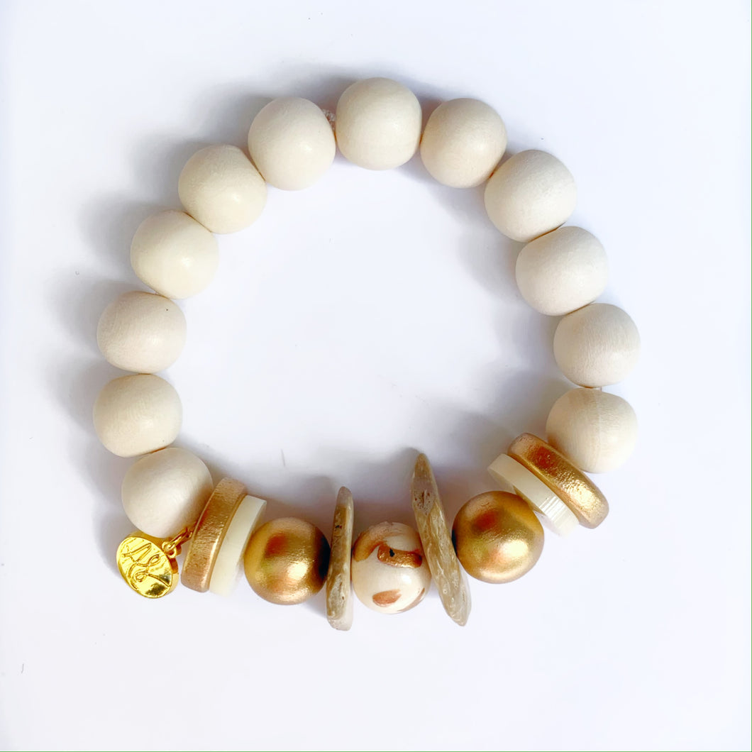 Gold White Beaded Bracelet