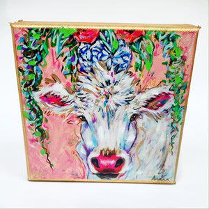 "White Cow on 6""x6"" Gallery Wrapped Canvas"