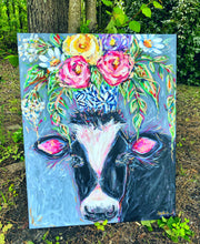 "Load image into Gallery viewer, ""I'll Meet You There"" Black and White Cow with Bouquet 24x30"" Original on Canvas"