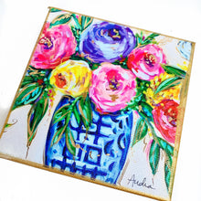 "Load image into Gallery viewer, Floral Bouquet in Ginger Jar on 6""x6"" Gallery Wrapped Canvas"