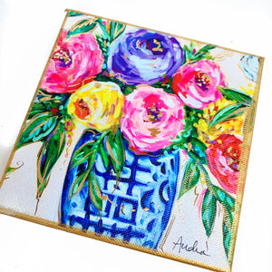 "Floral Bouquet in Ginger Jar on 6""x6"" Gallery Wrapped Canvas"