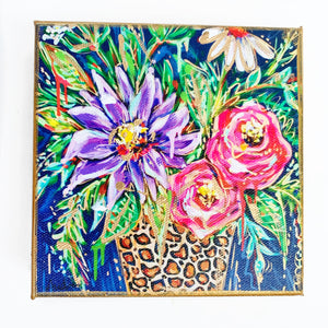 "Floral Dark Background Leopard Vase on 6""x6"" Gallery Wrapped Canvas"