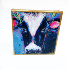 "Load image into Gallery viewer, Black and White Cow on 6""x6"" Gallery Wrapped Canvas"