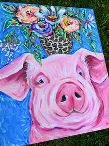 """Peace of Mind"" Pig with Bouquet on Canvas 24x30"""