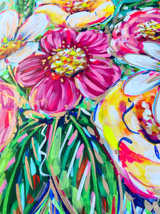 "'Laugh At The Odds' Original Floral on Canvas 24""x36"""