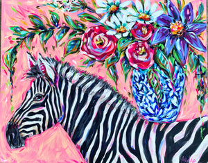 """Quiet with Noisy Times"" Original Zebra and Bouquet on Canvas 24x30"""