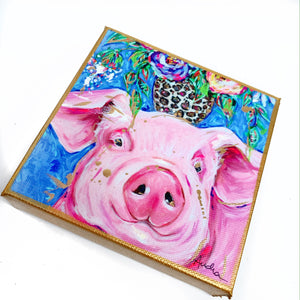 "Pig on 6""x6"" Gallery Wrapped Canvas"