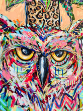 "Load image into Gallery viewer, 'Big Mood' Original Owl and Bouquet on Canvas 24""x36"