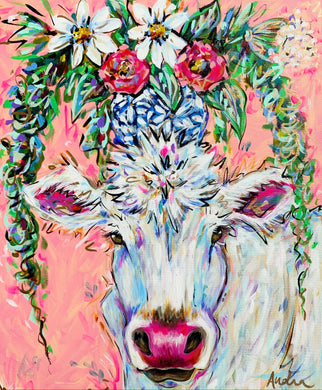 """Meadow Flowers"" Original White Cow Bouquet on Canvas 20x24"""