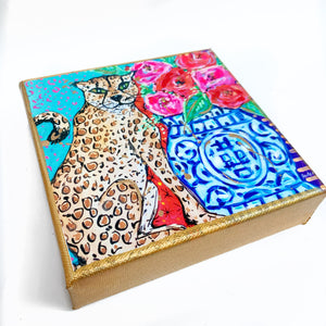 "Cheetah Ginger Jar on 6""x6"" Gallery Wrapped Canvas"